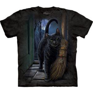 kat geeft kopjes tegen de bezem van de heks